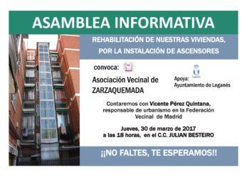 Asamblea informativa sobre la rehabilitación de nuestras viviendas, instalación de ascensores