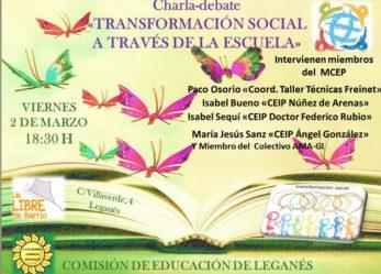 Charla-debate: Transformación social a través de la Ecuela.