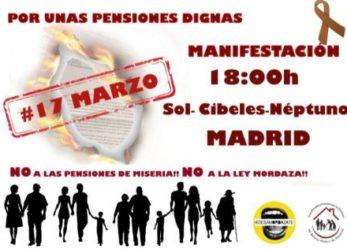 Manifestación en defensa de las pensiones sábado 17 de marzo