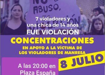 Concentración en apoyo a la víctima de los violadores de Manresa