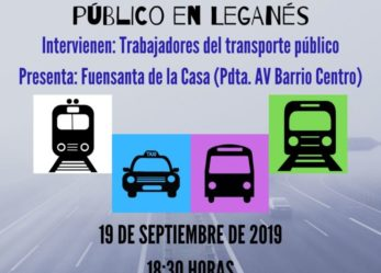 CHARLA-COLOQUIO «CÓMO MEJORAR EL TRANSPORTE PÚBLICO EN LEGANÉS». SEMANA DE LA MOVILIDAD 2019