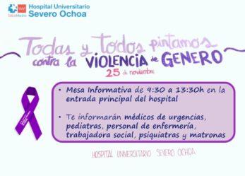 El Hospital Severo Ochoa se suma al Día contra la Violencia de Género