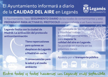 El Ayuntamiento de Leganés informará a diario sobre la calidad del aire en el municipio