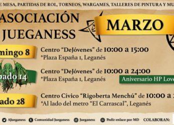 Asociación Jueganess: calendario de actividades para el mes de marzo
