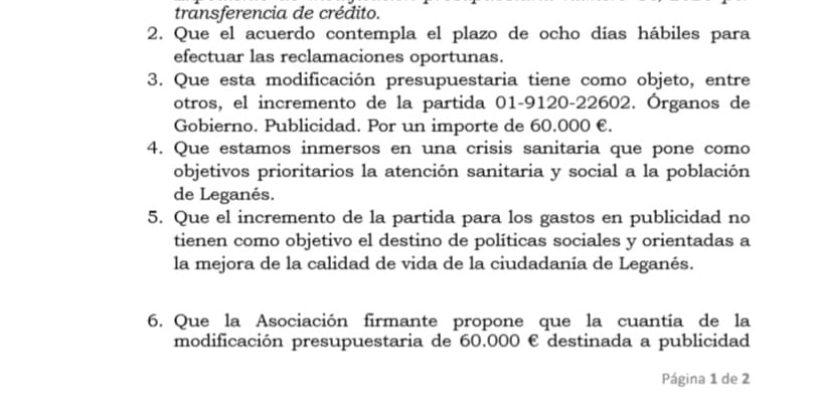 Alegaciones a la aprobación inicial de la Modificación Presupuestaria nº 18 por transferencia de crédito del Presupuesto Municipal 2020