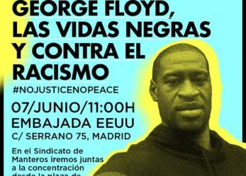 7 de junio frente a la embajada de EEUU en memoria de George Floyd, las vidas negras y contra el racismo