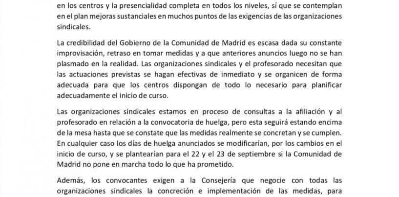 El plan presentado por la Comunidad de Madrid es un logro de las movilizaciones y de la convocatoria de huelga de CCOO, UGT, CGT y STEM