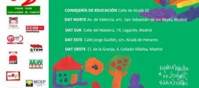 Convocatoria de la Plataforma Regional por la Escuela Pública de Madrid