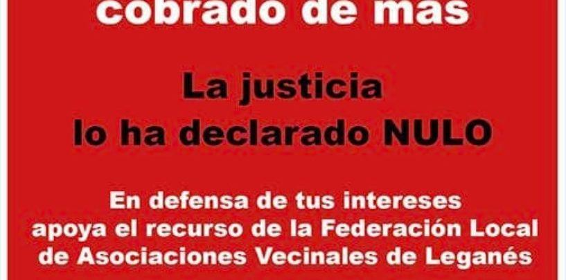 La Federación Local de Asociaciones Vecinales de Leganés exige, vía recurso administrativo, la devolución del cobro indebido del IBI 2020