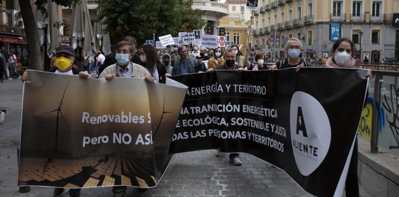 Manifestación contra los megaproyectos de renovables en zonas rurales